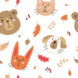 Seamless pattern with cute cartoon animals. Vector template for wrapping paper, bedding pattern for kids,  print on clothes.