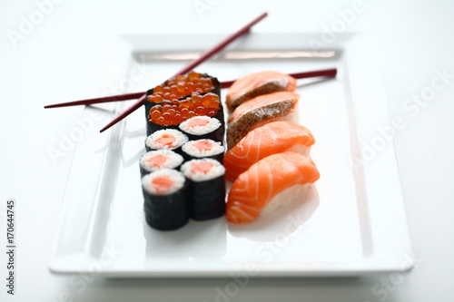Aluminium Sushi bar Set of sushi and rolls with a salmon
