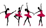 Silhouettes of ballerinas on a white background, vector