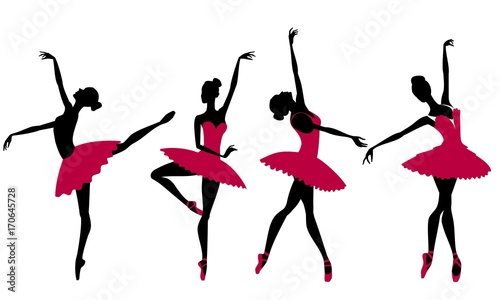 Silhouettes of ballerinas on a white background, vector © tatoman
