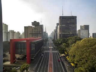 MASP, Brazil, August, 2017. Aerial view on Paulista Avenue, in Sao Paulo city