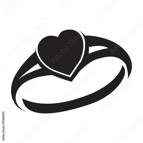 Isolated silhouette of a ring, Vector illustration