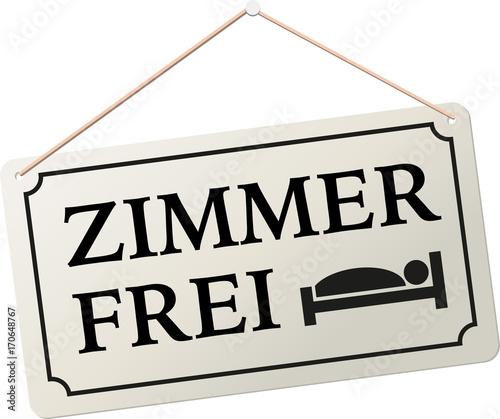 Schild Anhänger Zimmer Frei mit Piktogramm Bett