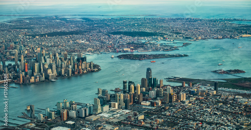 A view of Manhattan from the cockpit of an airplane