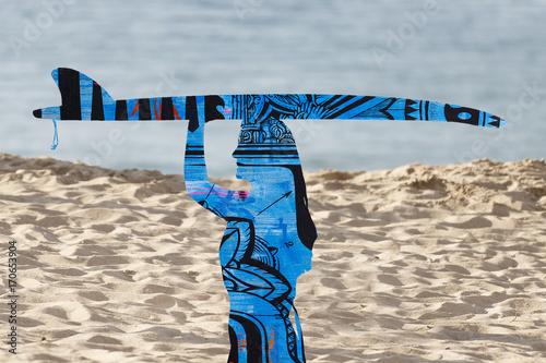 Fotobehang Nice surfer woman on the beach