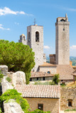 Famous towers at the medieval  town of San Gimignano in Italy