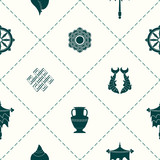 Seamless pattern with Eight Auspicious Symbols of Buddhism for your design