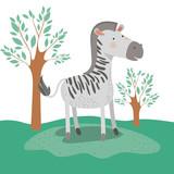 zebra animal caricature in forest landscape background vector illustration