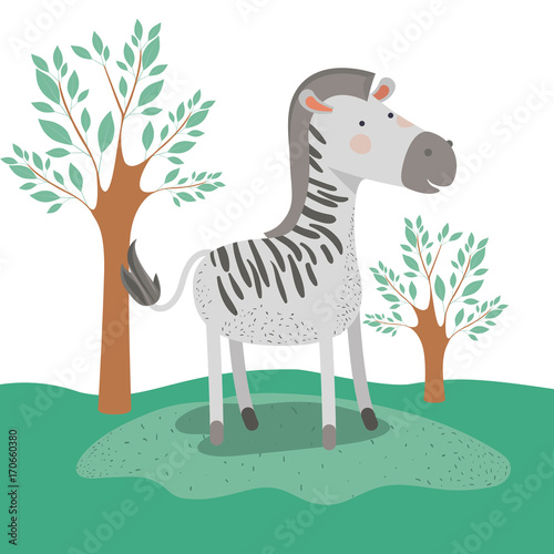 Aluminium Zoo zebra animal caricature in forest landscape background vector illustration