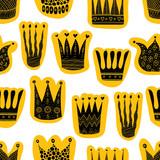 Crown pattern. Hand draw vector vintage.