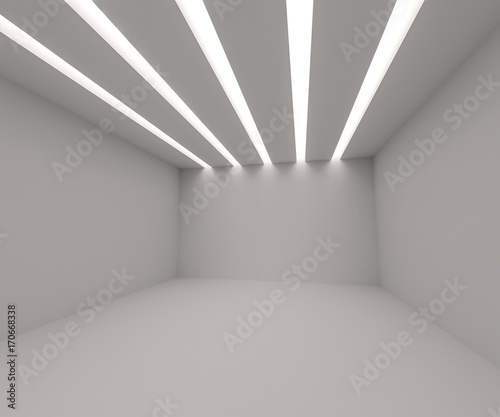 White empty room with lights. 3d rendering