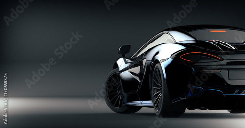 Futuristic sports car (with grunge overlay) concept, brandless - 3d illustration
