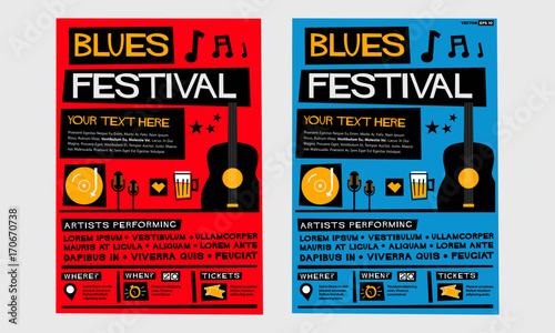 Blues Festival (Flat Style Vector Illustration Quote Poster Design) Event Invitation with Venue, Artist, Ticket and Time Details
