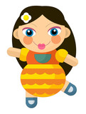 cartoon cheerful girl - doll isolated - illustration for children