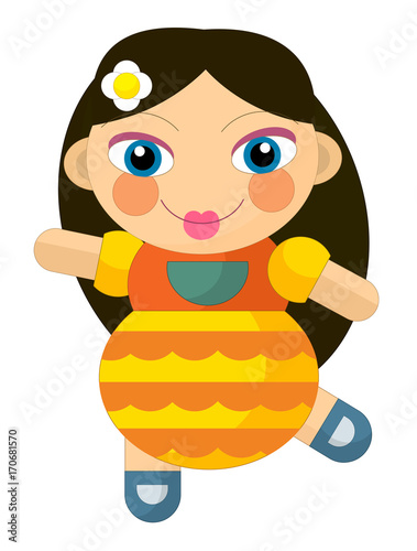 cartoon cheerful girl - doll isolated - illustration for children - 170681570