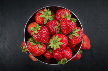 Portion of Strawberries on a slate slab
