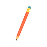 Red sharpened pencil with eraser, office tool cartoon vector Illustration - 170689120