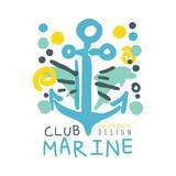 Marine club original logo design, summer travel and sport hand drawn colorful vector Illustration