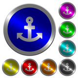 Anchor luminous coin-like round color buttons