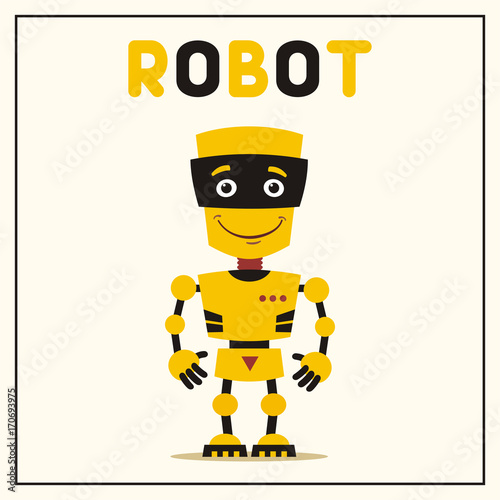 Smiling yellow robot with black details