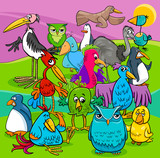 bird characters group cartoon illustration - 170697374