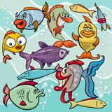 funny fish cartoon characters group