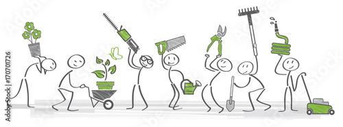 Naklejka Gärtner halten verschiedenens Gartenwerkzeug