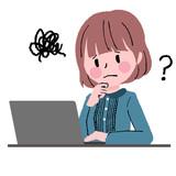 女性とパソコン 疑問 - 170702388