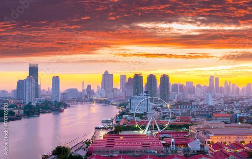 Bangkok modern city skyline with beautiful sunset.