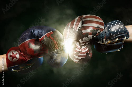 Political Crisis between USA and North Korea symbolized with Boxing Gloves Poster