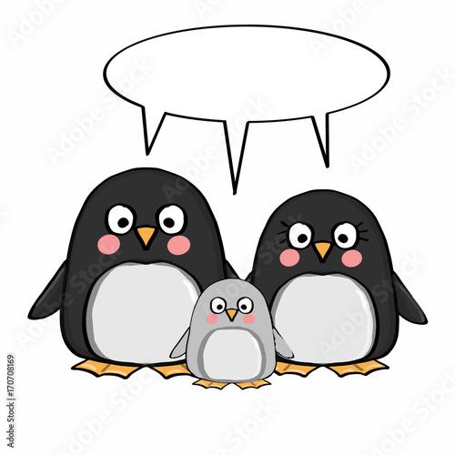 Fotobehang Uilen cartoon cute penguins family and thinking