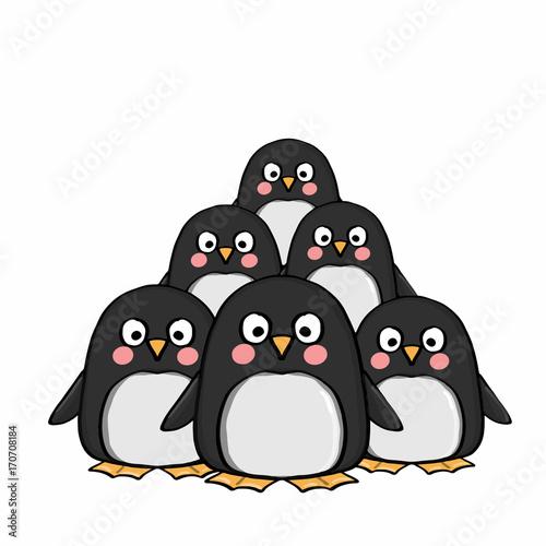 Foto op Plexiglas Uilen cartoon cute penguins