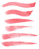 Set of hand painted red watercolor grunge brush strokes of different shapes isolated on the white background. Textures for your design.