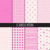 set of eight pink patterns