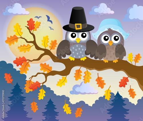 Fotobehang Voor kinderen Thanksgiving owls thematic image 2