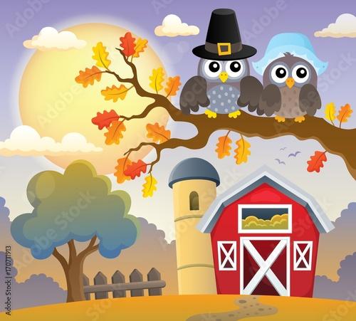 Fotobehang Voor kinderen Thanksgiving owls thematic image 3