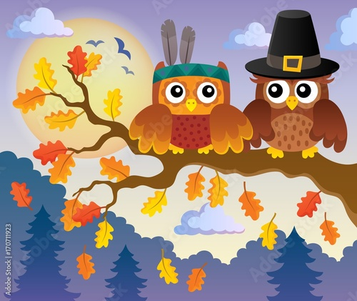 Fotobehang Voor kinderen Thanksgiving owls thematic image 4