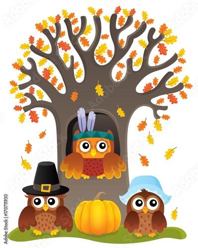 Fotobehang Voor kinderen Thanksgiving owls thematic image 5