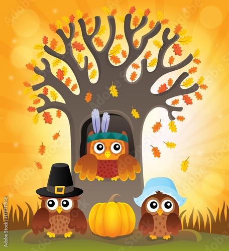 Fotobehang Voor kinderen Thanksgiving owls thematic image 6