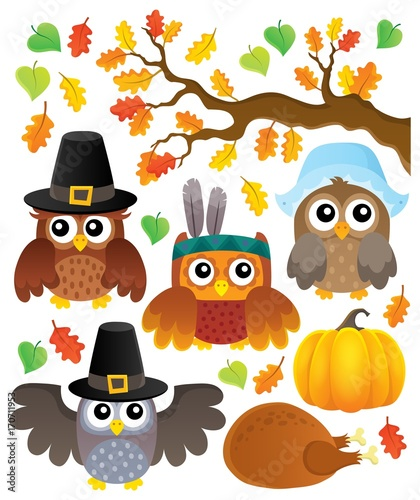 Aluminium Voor kinderen Thanksgiving owls thematic set 1