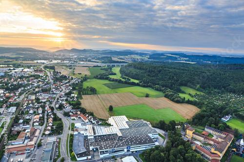 Poster air view of Coburg town