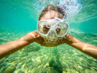 Guy selfie underwater