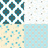 Floral and geometry seamless vector pattern set. Bright blue colors and beige repeat nature background for print. Flowers and rhombuses texture.