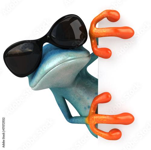 Fridge magnet Blue frog - 3D Illustration