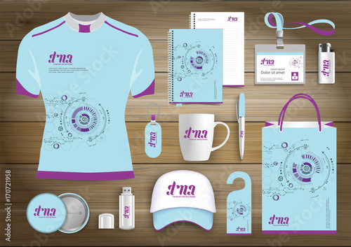 network Gift Items, Color promotional souvenirs design for link corporate identity with technology lines. Stationery set, digital tech template, Blue, Pink