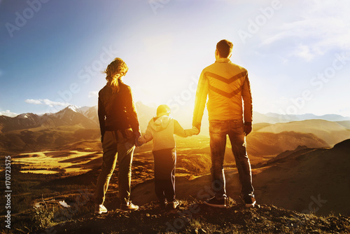 Travel family concept mountains sunset