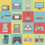 Classic videogames and console icons over white background vector illustration - 170725556
