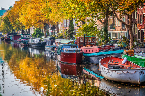 Foto op Canvas Texas beautiful canals in Amsterdam in autum, Holland