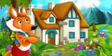 cartoon scene with fox encountering traditional farm house