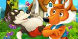 cartoon scene with fox looking at sleeping over eaten wolf